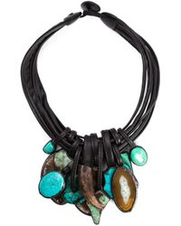 Monies | Blue Stone And Horn Pendant Necklace | Lyst