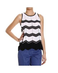M Missoni | Black Top Sleeveless Knit Lines | Lyst