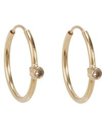 Jennifer Meyer | Metallic White Diamond Hoop Earrings Size Os | Lyst