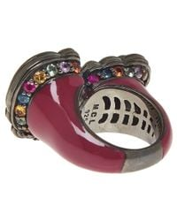 M.c.l - Purple Gunmetal Multicoloured Sapphire Paisley Ring for Men - Lyst
