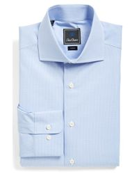 David Donahue | Blue Trim Fit Check Dress Shirt for Men | Lyst