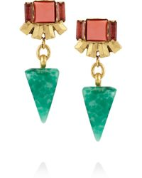 Elizabeth Cole - Metallic Goldplated Crystal and Stone Earrings - Lyst
