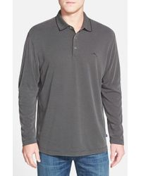 Tommy Bahama | Gray 'pebble Shore' Island Modern Fit Long Sleeve Pique Polo for Men | Lyst