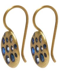 Polly Wales | Metallic Gold Crystal Disc Blue Sapphire Hook Earrings | Lyst