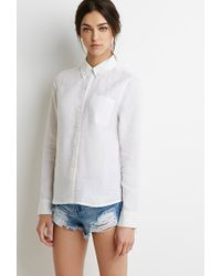 Forever 21 | White Linen Button-collar Shirt | Lyst