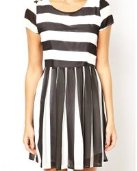 Wal-G | White Stripe Skater Dress | Lyst