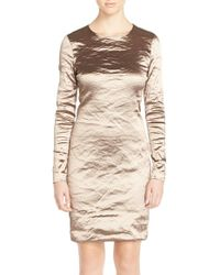 Nicole Miller | Brown 'mercedes' Techno Metal Sheath Dress | Lyst