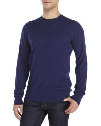 Ben Sherman - Blue Textured Check Knit Sweater for Men - Lyst