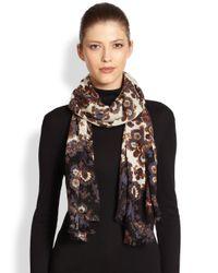 Tory Burch - Brown Damask Printed Wool Scarf - Lyst