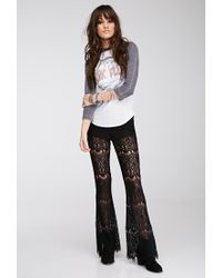 Forever 21 - Black Eyelash Lace Flared Pants You've Been Added To The Waitlist - Lyst