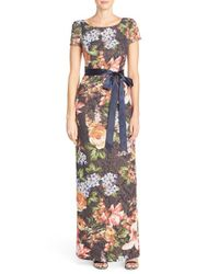 Adrianna Papell - Multicolor Floral Matelasse Column Gown - Lyst