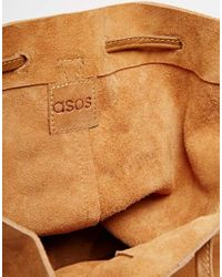 ASOS - Brown Suede Drawstring Cross Body Backpack - Lyst