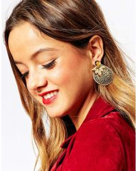 ASOS | Metallic Filigree Teardrop Swing Earrings | Lyst