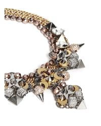 Assad Mounser - Metallic Moon Crystal Square Curb Chain Necklace - Lyst