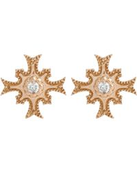 Sara Weinstock - White Diamond & Rose Gold Maltese Cross Studs-colorless - Lyst