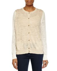 Halston - Natural Sheer Button-up Sweater - Lyst