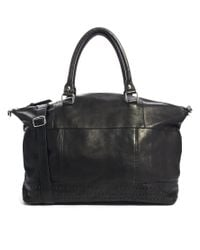 ASOS - Black Leather Holdall with Panel Detail - Lyst