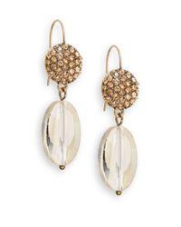 Saks Fifth Avenue - Metallic Pavã© & Glass Drop Earrings/gold - Lyst