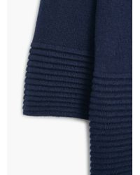 Mango - Blue Embossed Hem Cotton Sweater - Lyst