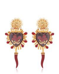 Dolce & Gabbana | Metallic Sacred Heart & Rose Earrings | Lyst