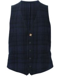 Lardini - Blue Checked Gilet for Men - Lyst