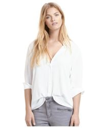 Violeta by Mango | Natural Plus Size Roll-tab Shirt | Lyst