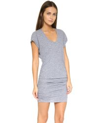 Lanston - Gray Triblend Side Ruched Dress - Lyst