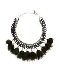 Isabel Marant | Black Gold-Tone, Crystal And Feather Necklace | Lyst