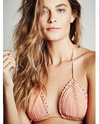 Free People - Orange She Made Me Womens Crochet Triangle Top - Lyst