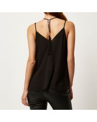 River Island | Black Tassel Back Necklace | Lyst