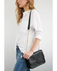 Forever 21 - Black Structured Flap-top Crossbody - Lyst