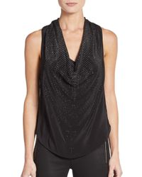 Ramy Brook | Black Debi Silk Studded Cowlneck Top | Lyst