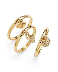 Rebecca Minkoff | Metallic 'jewel Box' Stackable Charm Rings | Lyst