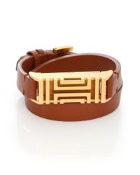 Tory Burch | Metallic For Fitbit Stainless Steel & Leather Double-wrap Bracelet | Lyst