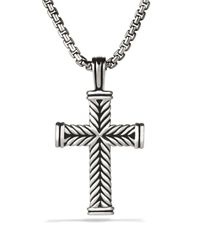 David Yurman - Metallic Chevron Cross On Chain 26 for Men - Lyst