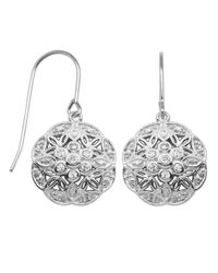 Lord & Taylor | Metallic Sterling Silver And Cubic Zirconia Flower Drop Earrings | Lyst