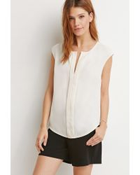 Forever 21 - White Contemporary Keyhole Neck Top You've Been Added To The Waitlist - Lyst