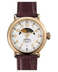 Shinola | Gray 'the Runwell' Moon Phase Leather Strap Watch | Lyst