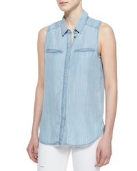 PAIGE - Blue Arianna Sleeveless Denim Shirt - Lyst