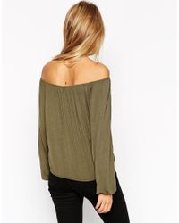 ASOS | Natural Off Shoulder Top In Slouchy Fabric | Lyst