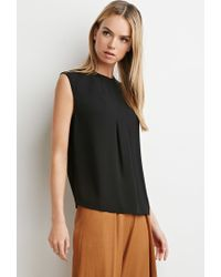 Forever 21 - Black Pleated Crepe Blouse - Lyst