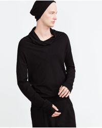 Zara | Black Sweater With Wraparound Collar for Men | Lyst