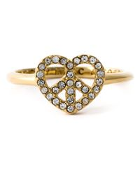 Marc By Marc Jacobs | Metallic Crystal Embellished Heart-Peace Ring | Lyst