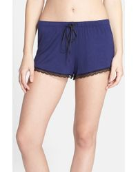 Joe's Jeans | Blue 'cara' Lace Trim Shorts | Lyst