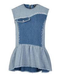 House of Holland | Blue Denim Top | Lyst