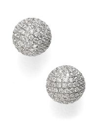 Bony Levy | White Large Diamond Pave Ball Stud Earrings | Lyst
