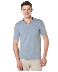 Perry Ellis | Blue Oxford V-neck T-shirt for Men | Lyst