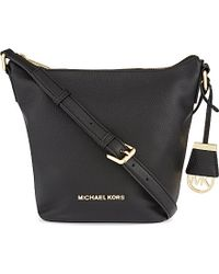MICHAEL Michael Kors | Bedford Small Leather Messenger Bag, Black | Lyst