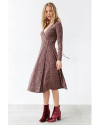 Kimchi Blue - Brown Ribbed Wrap Midi Dress - Lyst
