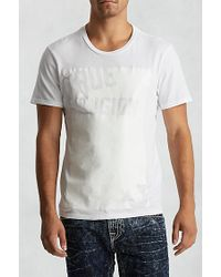 True Religion White Handpicked Cut Out Crew Neck Mens T-shirt for men